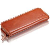 KAVAJ Leather Pencil Case Vancouver Cognac-Brown - Classy Handmade Genuine Leather Pencil Holder Pouch for Business, Office, School, University Elegant