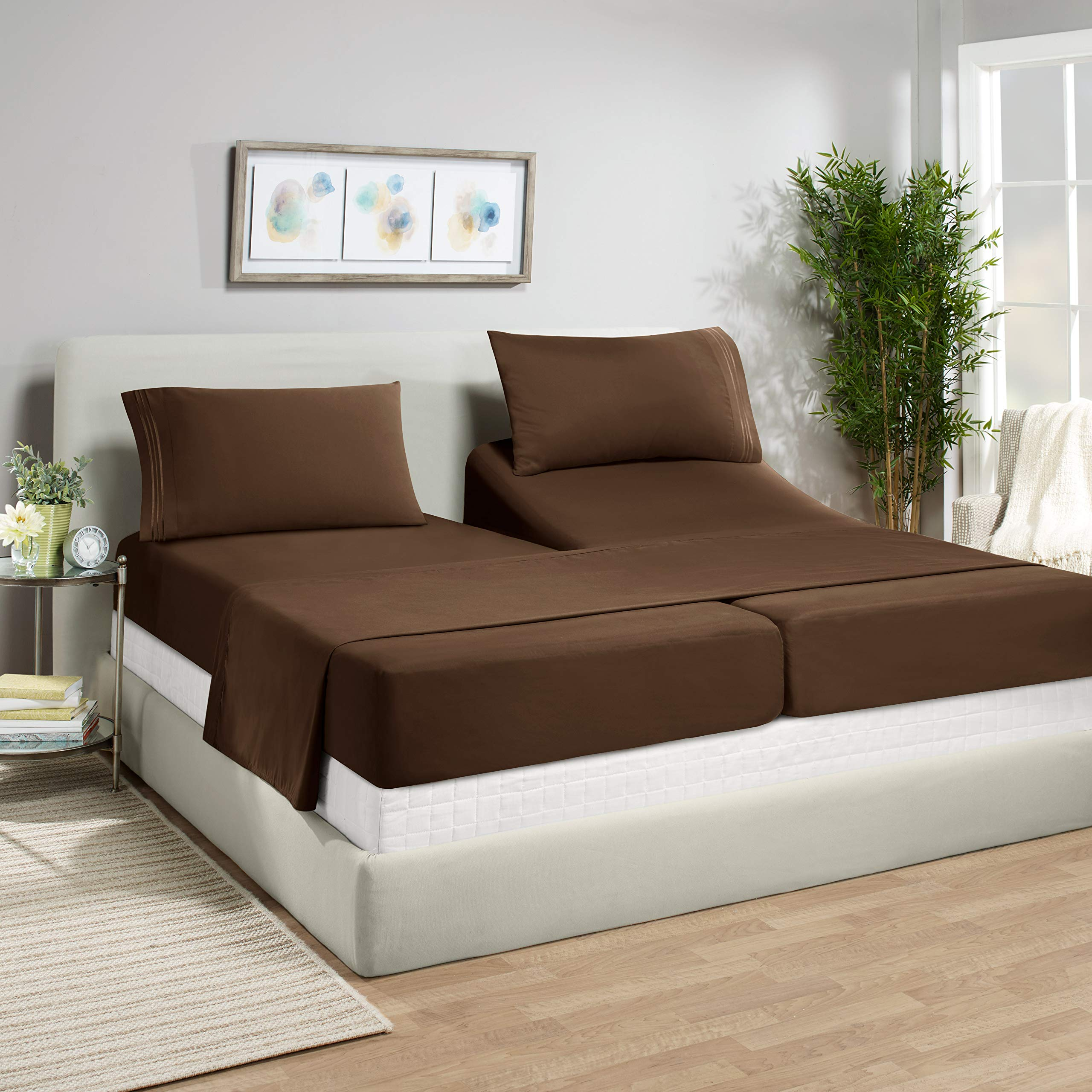 """Empyrean Bedding 14"""" - 16"""" Deep Pocket Fitted Sheet 5 Piece Set - Super Soft Double Brushed Microfiber Top Sheet - Wrinkle Free 2 Fitted Bed Sheets, 1 Flat Sheet and 2 Pillow Cases - Split King, Brown"""