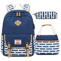 Backpacks for Teen Girls, High School and College, Backpack +Lunch Bag + Pencil Case, 3 in 1 Bags (Blue)