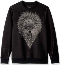 GUESS Men's Long Sleeve Luther Wolf Crew Neck Shirt