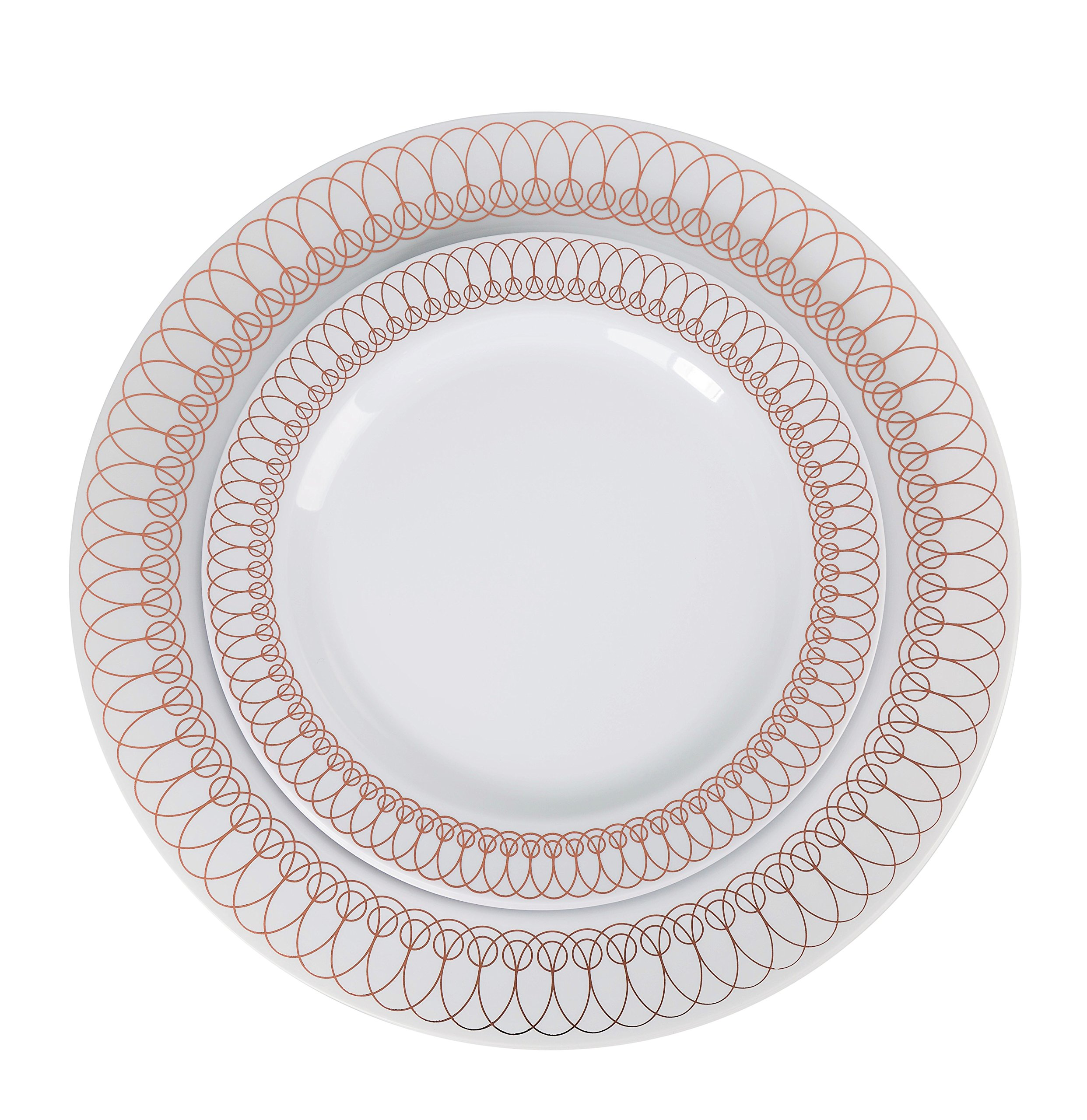"60-Pack of Luxury Disposable Plastic Plates for Upscale Parties- 30x10.25"" inch Dinner Plates/ 30x 7.5"" Dessert/Salad Plates – Lace Trim Designs in Gold, Silver and Rose Gold– Exquisite (Rose Gold)"