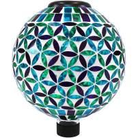 Sunnydaze Glass Mosaic Gazing Globe with Solar Light, Blue Cool Blooms Design, Garden and Landscape Decor, 10-Inch