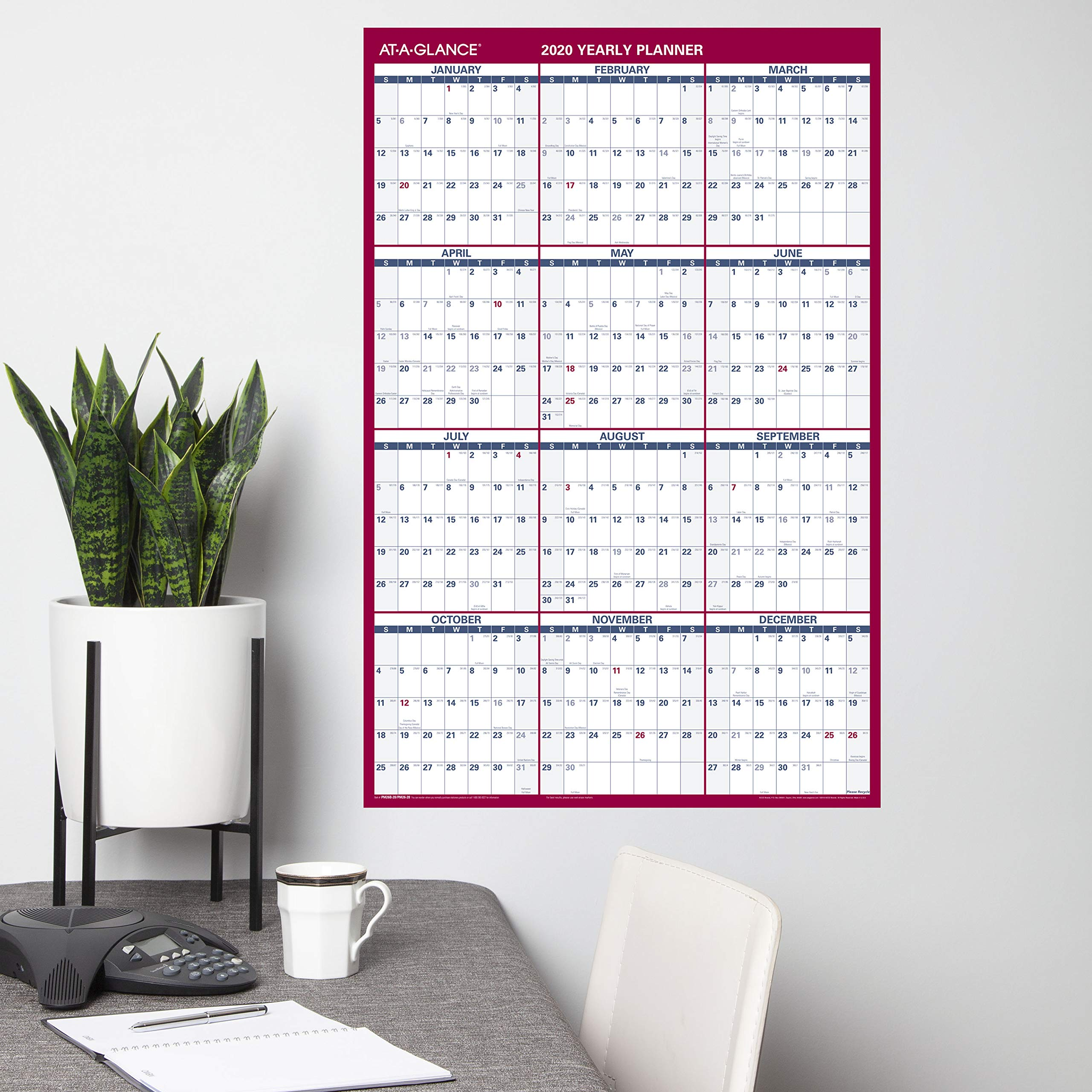 """AT-A-GLANCE Large Dry Erase Wall Calendar 2020, Erasable, Monthly & Yearly Whiteboard Planner, Home Shool & Home Office Organization, 36"""" x 24"""", Double Sided, Vertical/Horizontal (PM26B28)"""