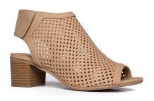 J. Adams Maddie Booties for Women - Peep Toe Low Block Heel Hook & Loop Strap