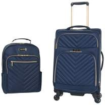 """Kenneth Cole Reaction Women's Chelsea 2-Piece 20"""" Expandable 4-Wheel Carry-On Suitcase & Matching 15"""" Laptop Backpack, Navy"""