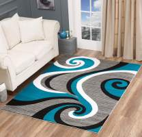 Glory Rugs Modern Area Rug Swirls Carpet Bedroom Living Room Contemporary Dining Accent Sevilla Collection 4817 (5x7, Turquoise)