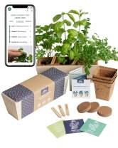 Herb Garden Starter Kit   Free Web app Guide   Beginner Friendly Indoor Windowsill Kitchen Planter   Potting Mix, Pots, Markers, Seeds