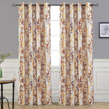 DriftAway Leah Abstract Floral Blossom Ink Painting Room Darkening Thermal Insulated Grommet Unlined Window Curtains 2 Panels Each Size 52 Inch by 96 Inch Red Rust Orange Gold Yellow