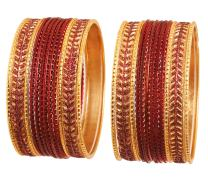 Touchstone New Metallic Colorful 2 Dozen Bangle Collection Indian Hollywood Textured Color Jewelry Special Large Size Bangle Bracelets Set of 24 in Antique Gold Tone for Women