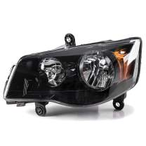 ECOTRIC Driver side Black Housing Headlights Headlamps Compatible with 2011-2019 Dodge Grand Caravan 08-16 Chrysler Town & Country