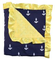 Unique Baby Soft Textured Minky Dot Blanket with Satin Trim, Anchor Yellow