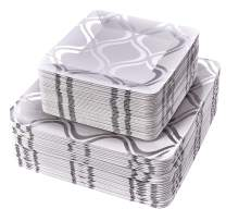 PARTY DISPOSABLE 72 PC DINNERWARE SET | 36 Dinner Plates | 36 Salad or Dessert Plates | Heavy Duty Paper Plates | for Upscale Wedding and Dining | Square Metallic Silver - Moroccan Collection