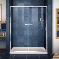 DreamLine Infinity-Z 34 in. D x 60 in. W x 74 3/4 in. H Clear Sliding Shower Door in Chrome and Right Drain Biscuit Base, DL-6972R-22-01