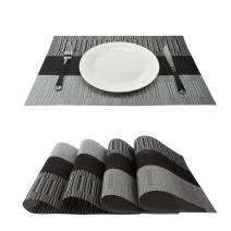 GEFEII Exquisite Bamboo PVC Placemats Woven Vinyl Non-Slip Kitchen Place Mats for Dining Wedding Party Heat-Resistant Waterproof Table Mats (Ombre Black and Gray, 4)