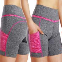 Witkey Women High Waist Shorts Yoga Pants Pockets Stretch Power Workout Athletic