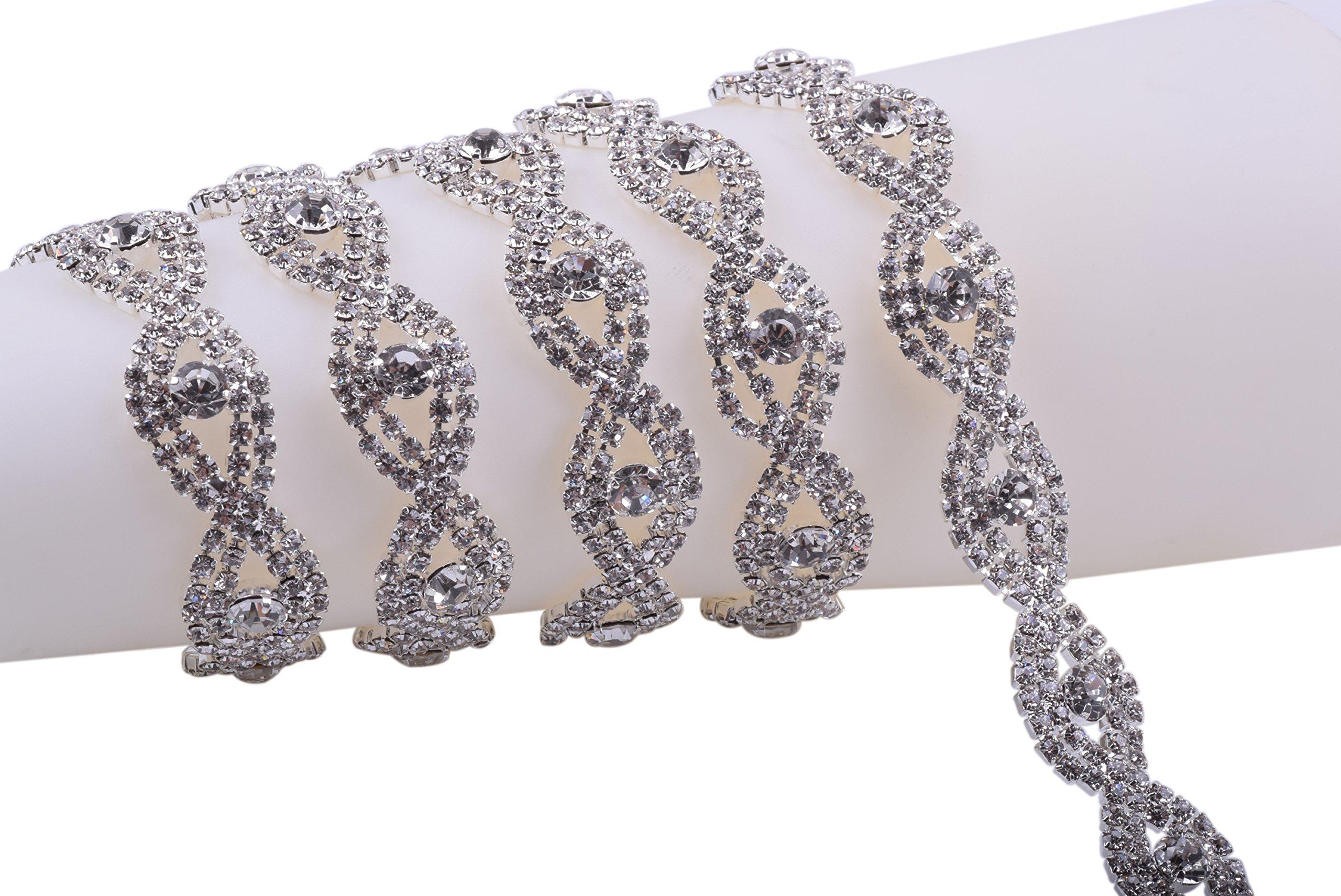 KAOYOO 1 Yard Crystal Rhinestone Chain Trim Sewing Trim for Wedding Decoration,Sewing Craft,DIY Accessories