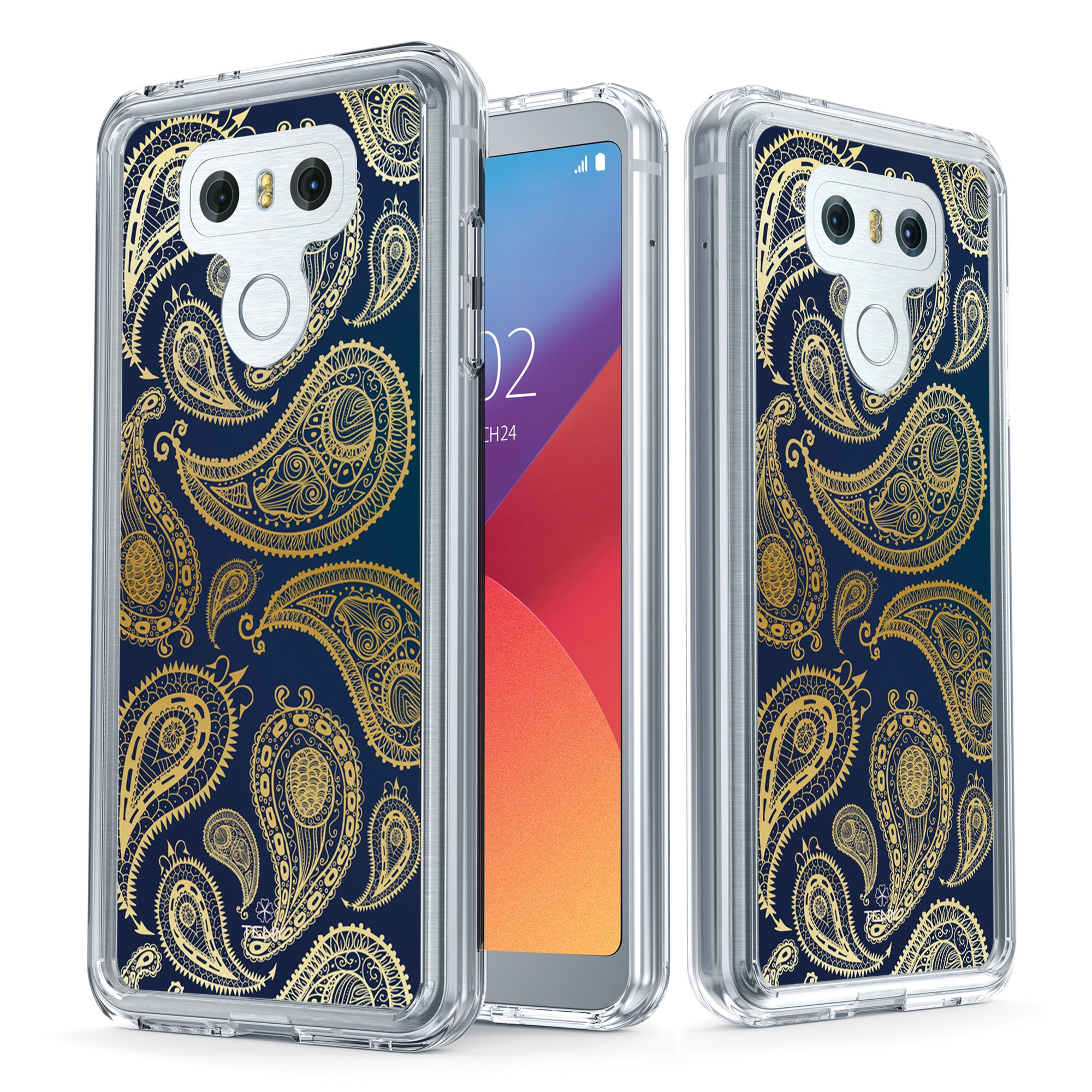 True Color Case Compatible with LG G6 Case - Clear-Shield Golden Paisley Printed on Clear Back - Soft and Hard Thin Shock Absorbing Protective Bumper Cover