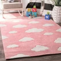 "nuLOOM Sachiko Cloudy Kids Rug, 3' 6"" x 5' 6"", Pink"