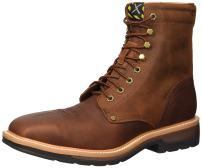 Twisted X Men's Lite Cowboy Lacer Workboot, Color: Brown/Rust (Mlcslw1)