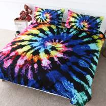 BlessLiving Blue and Purple Tie Dye Bed Covers 3 Pieces Hand Dyed Indigo Bedding Duvet Cover Boho Gypsy Hippie Decor (King)