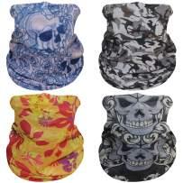 Molemsx 4 Pieces Headwear Bandana Neck Gaiter Face Cover Headband Magic Scarf Balaclava