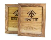 Rustic Wooden Picture Frame 6x8 Inch - Set of 2 - Natural Eco Wood with Real Glass for Wall Hanging and Table Top Display - Walnut