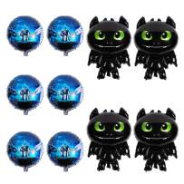 PANTIDE How to Train Your Dragon Party Supplies Balloons, 10 Pack Toothless Night Fury Balloons How to Train Your Dragon Themed Birthday Party Baby Shower Decorations