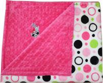 Lil' Cub Hub Minky Blanket, Hot Pink Circles Print/Hot Pink Dot