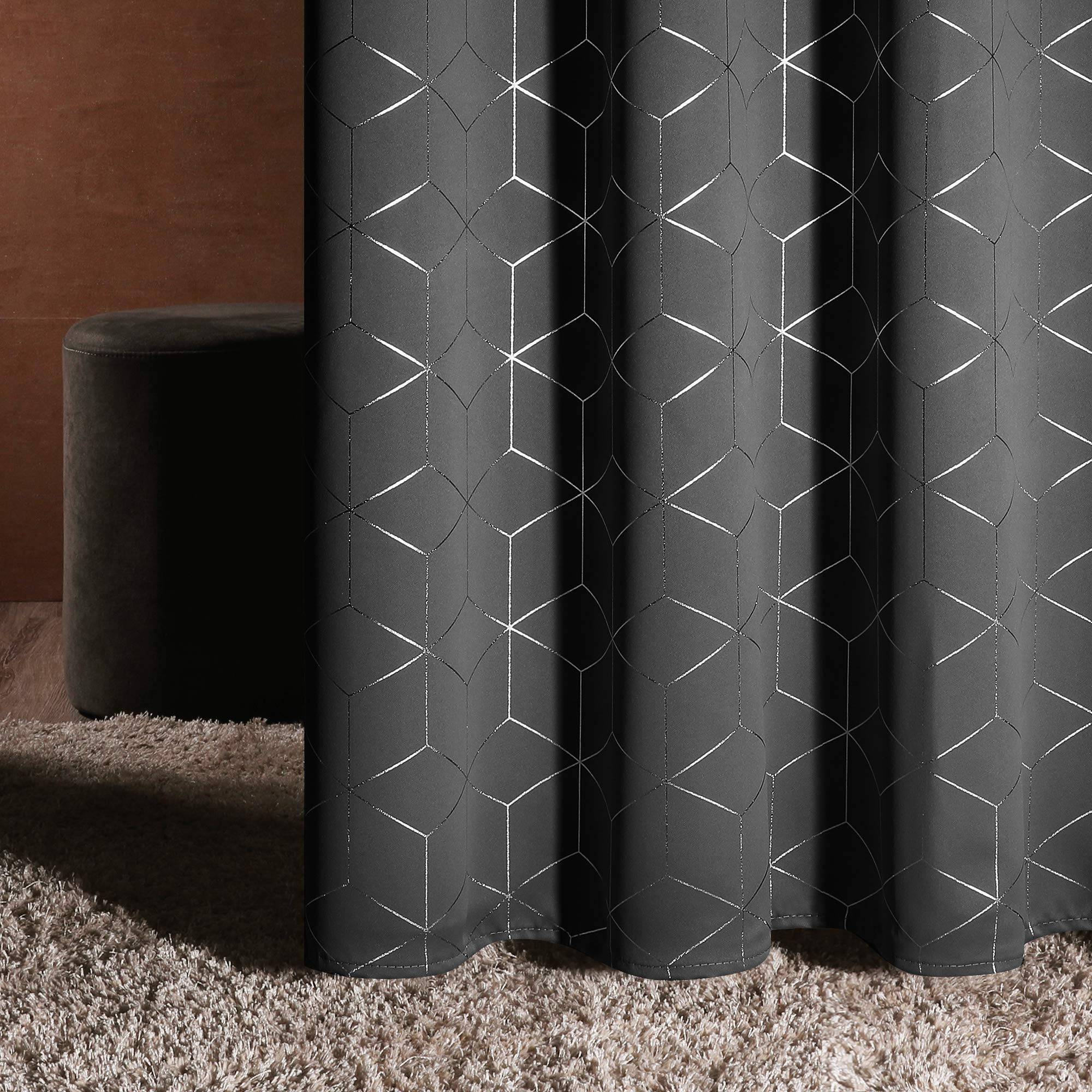Deconovo Silver Diamond Foil Print Blackout Curtains Room Darkening Thermal Insulated Curtain Panels Grommet for Living Room Light Grey 52x63 Inch 2 Panels