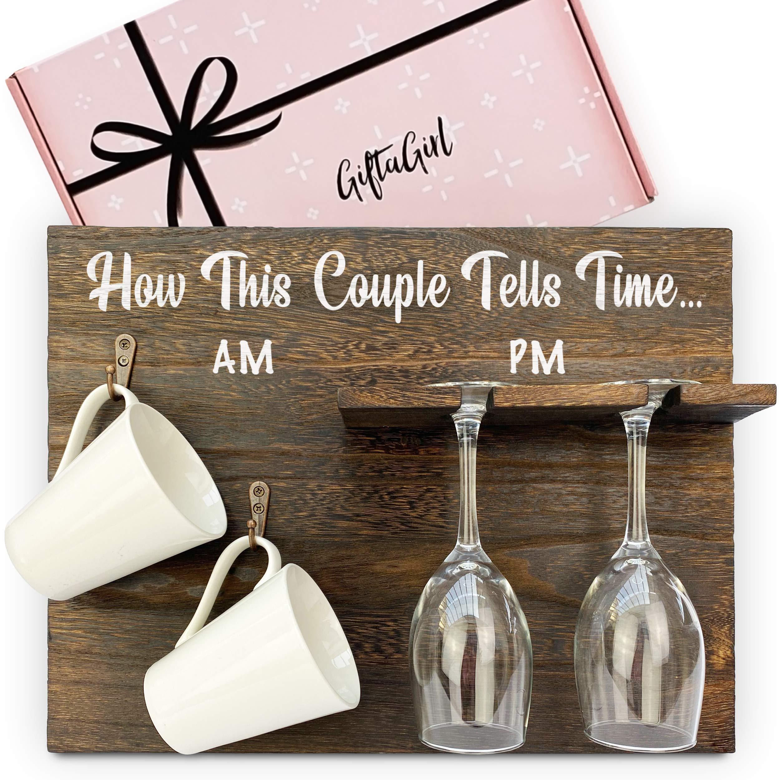 GIFTAGIRL Popular Engagement Gift for Couples or Wedding Gifts for Couple - Fun Couples Gifts for Husband and Wife. Engagement Gifts, Wedding Gift or Housewarming Gift. Mugs - Glasses Not Included