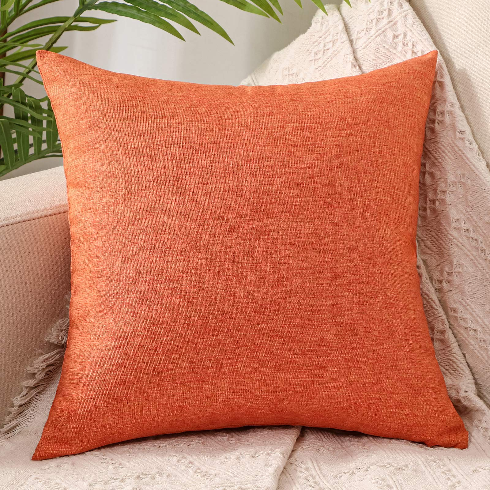 ZebraSmile Soft No Pilling Solid Decorative Square Throw Pillow Covers Cushion Case for Sofa Bedroom Car Rest and Decoration 18 x 18 Inch, Carrot Orange
