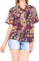 LA LEELA Women's Plus Size Hawaiian Shirt Button Down Aloha Camp Shirt Printed A