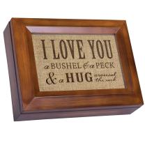 Cottage Garden I Love You A Bushel & A Peck Wood Finish Jewelry Music Box - Plays Tune You are My Sunshine