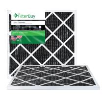 FilterBuy Allergen Odor Eliminator 25x25x1 MERV 8 Pleated AC Furnace Air Filter with Activated Carbon - Pack of 2-25x25x1