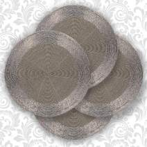 Decozen Round Placemat for Dining Table - Coffee Table - Handmade from Beads Heat Resistant Scratch Proof and Easy to Care Kitchen Décor Table Mat Set of 4pcs 14 inches - Smoke
