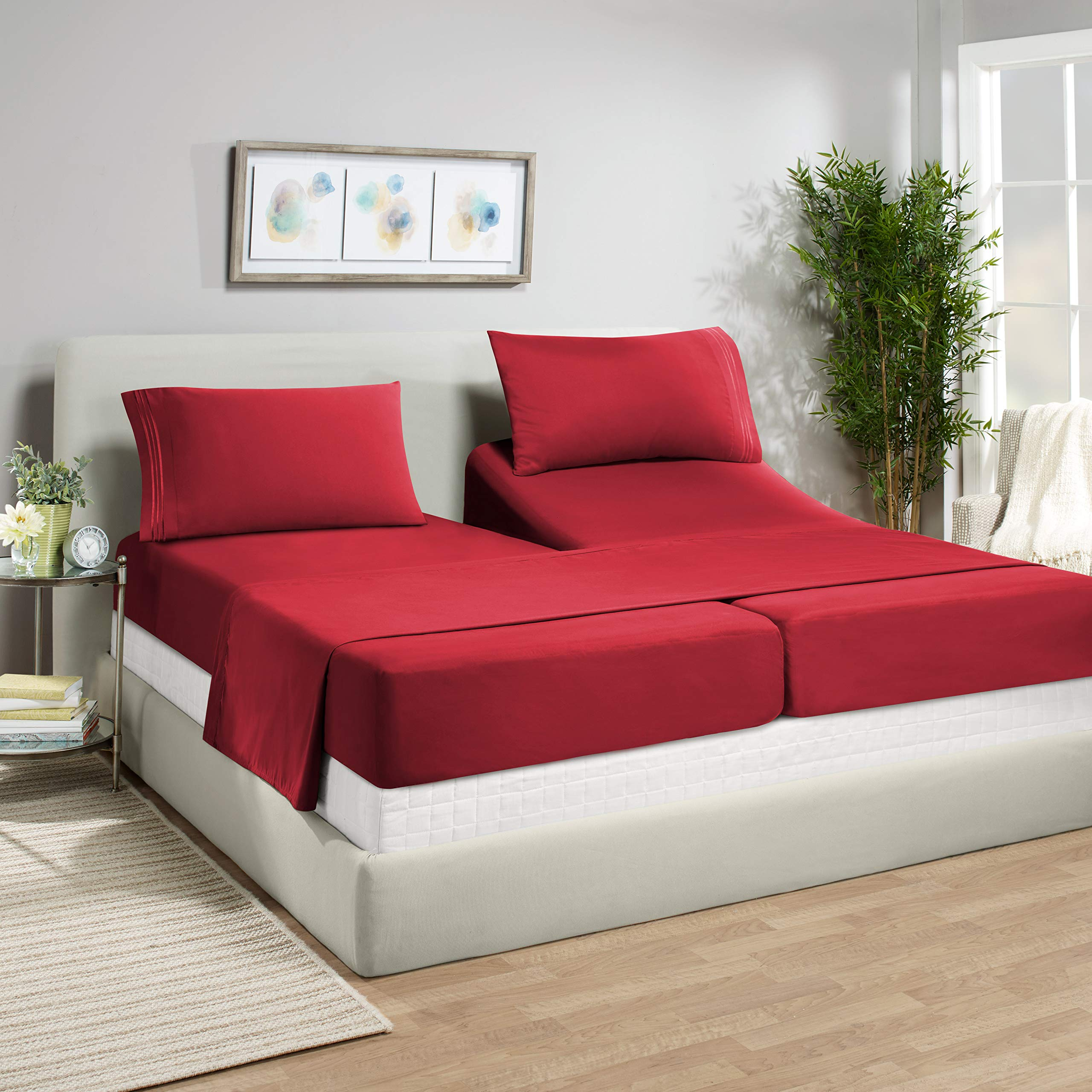 """Empyrean Bedding 14"""" - 16"""" Deep Pocket Fitted Sheet 5 Piece Set - Soft Double Brushed Microfiber Top Sheet - Wrinkle Free 2 Fitted Bed Sheets, 1 Flat Sheet and 2 Pillow Cases - Split King, Burgundy"""