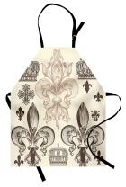 Lunarable Fleur De Lis Apron, Heraldic Pattern with Fleur-de-Lis and Crowns Tiara Coat of Arms Knight, Unisex Kitchen Bib with Adjustable Neck for Cooking Gardening, Adult Size, Beige Taupe