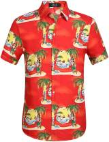 SSLR Men's Santa Claus Party Casual Hawaiian Ugly Christmas Shirts