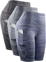 Neleus Women's High Waist Yoga Shorts Tummy Control Workout Running Compression Shorts with Pocket