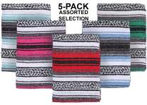 El Paso Designs Mexican Yoga Blanket Colorful 51in x 74in Studio Mexican Falsa Blanket Ideal for Yoga, Camping, Picnic, Beach Blanket, Bedding, Home Decor Soft Woven (5-Pack Assorted)