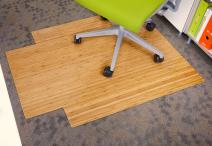 """Anji Mountain Bamboo Roll-Up Chair Mat with Lip, Natural, 36 x 48"""", 5mm Thick"""