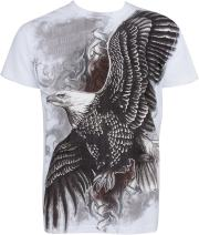 Sakkas Flying Eagle Metallic Silver Embossed Cotton Mens Fashion T-Shirt