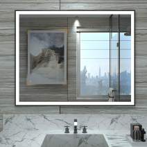 HAUSCHEN 28x36 inch LED Lighted Bathroom Wall Mounted Mirror with CRI 95 Adjustable Color Temperature+Anti Fog+Dimmable Memory Touch Button+IP44 Waterproof+Vertical & Horizontal + Black Metal Frame
