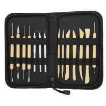 US Art Supply 14-Piece Pottery, Clay Sculpture & Ceramics Tool Set with Canvas Zippered Case
