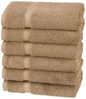 Pinzon Organic Cotton Hand Towels, Set of 6, Latte