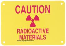 "Brady 25284 10"" Width x 7"" Height B-401 Plastic, Pink on Yellow Radiation and Laser Sign, Legend ""Caution Radioactive Materials"" (with Picto)"