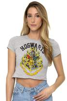 Harry Potter Hogwarts Logo Juniors Teen Girls Crop Top T Shirt & Stickers