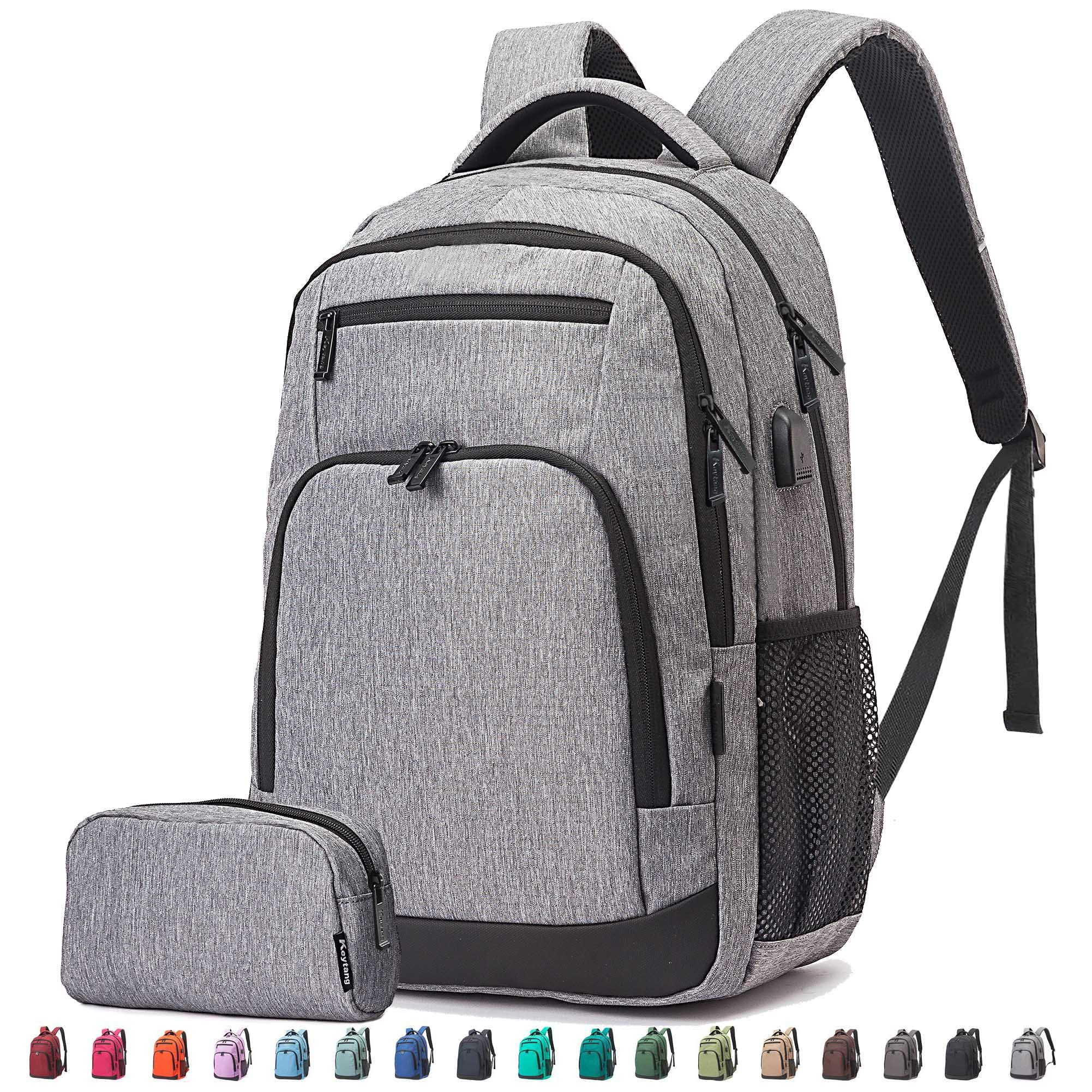 Travel Laptop Business Backpack, Anti Theft Water Resistant College School Computer Bagpack, Gifts for Men & Women Fits 15.6 Inch Notebook with USB Charging Port Bonus a Small pencil Case, Gray