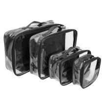 Clear Packing Cubes set of 4 / Packs 7-10 Days of Clothes/Premium PVC Plastic Storage Cube (Black)