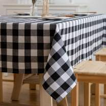Aquazolax Black and White Buffalo Check Tablecloths Country Farmhouse Square Table Covers for Family Dinner Gatherings, 54 inch Square in Black